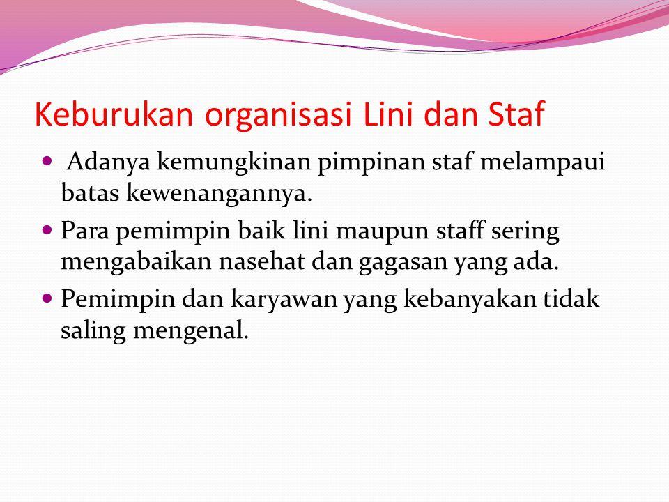 Keburukan organisasi Lini dan Staf  Adanya kemungkinan pimpinan staf melampaui batas kewenangannya.