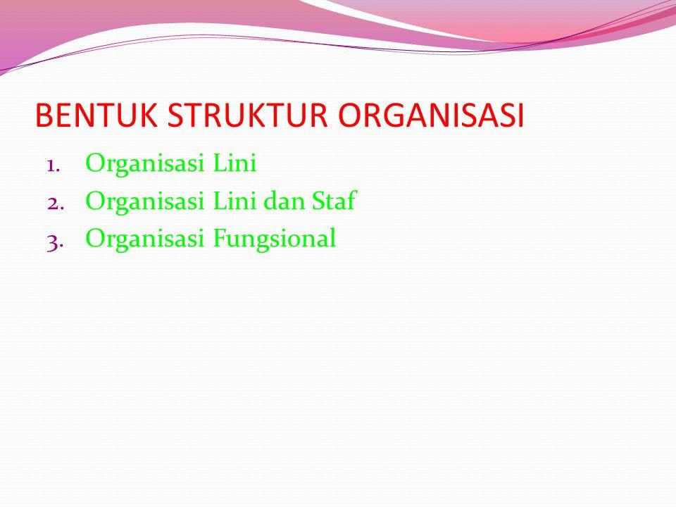 BENTUK STRUKTUR ORGANISASI 1. Organisasi Lini 2. Organisasi Lini dan Staf 3. Organisasi Fungsional