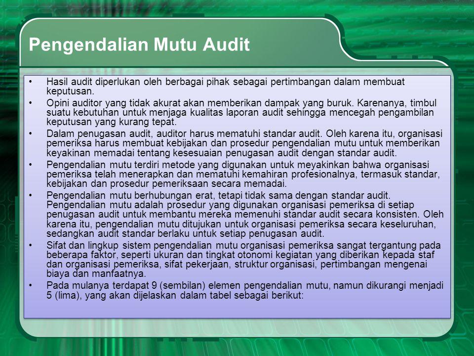 Pengendalian Mutu Audit •Hasil audit diperlukan oleh berbagai pihak sebagai pertimbangan dalam membuat keputusan. •Opini auditor yang tidak akurat aka