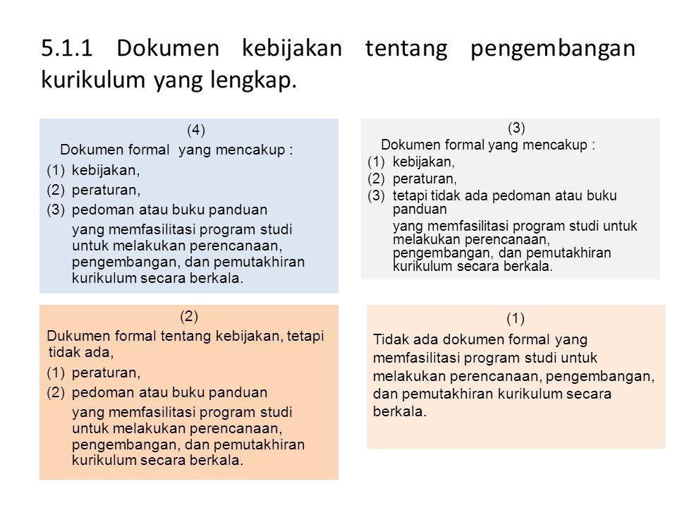 5.1.1 Dokumen kebijakan tentang pengembangan kurikulum yang lengkap. (4) Dokumen formal yang mencakup : (1)kebijakan, (2)peraturan, (3)pedoman atau bu