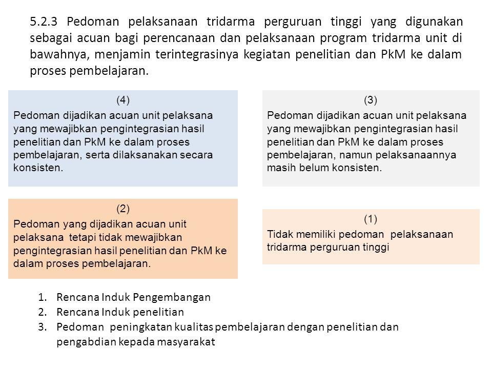 5.2.3 Pedoman pelaksanaan tridarma perguruan tinggi yang digunakan sebagai acuan bagi perencanaan dan pelaksanaan program tridarma unit di bawahnya, m