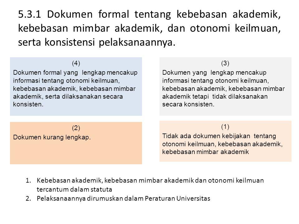 5.3.1 Dokumen formal tentang kebebasan akademik, kebebasan mimbar akademik, dan otonomi keilmuan, serta konsistensi pelaksanaannya. (4) Dokumen formal
