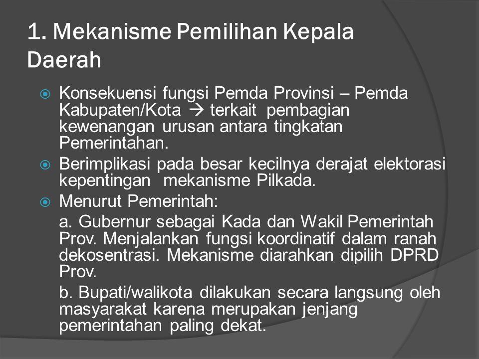 1. Mekanisme Pemilihan Kepala Daerah  Konsekuensi fungsi Pemda Provinsi – Pemda Kabupaten/Kota  terkait pembagian kewenangan urusan antara tingkatan