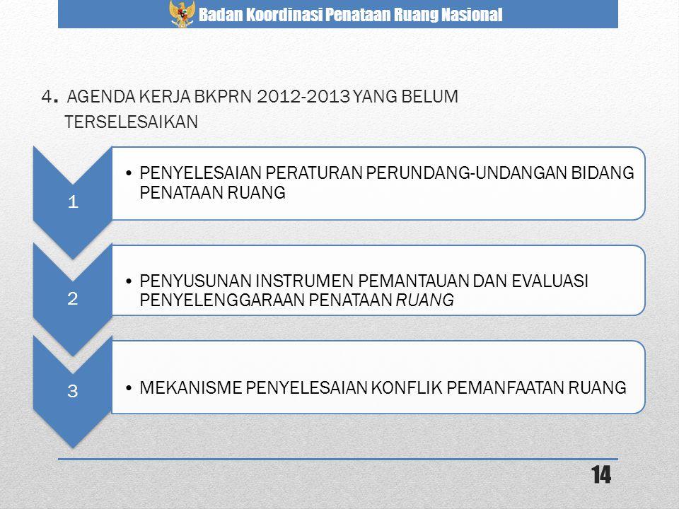 Badan Koordinasi Penataan Ruang Nasional 4. AGENDA KERJA BKPRN 2012-2013 YANG BELUM TERSELESAIKAN 1 •PENYELESAIAN PERATURAN PERUNDANG-UNDANGAN BIDANG