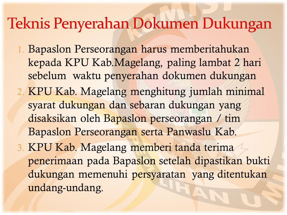 1. Bapaslon Perseorangan harus memberitahukan kepada KPU Kab.Magelang, paling lambat 2 hari sebelum waktu penyerahan dokumen dukungan 2. KPU Kab. Mage