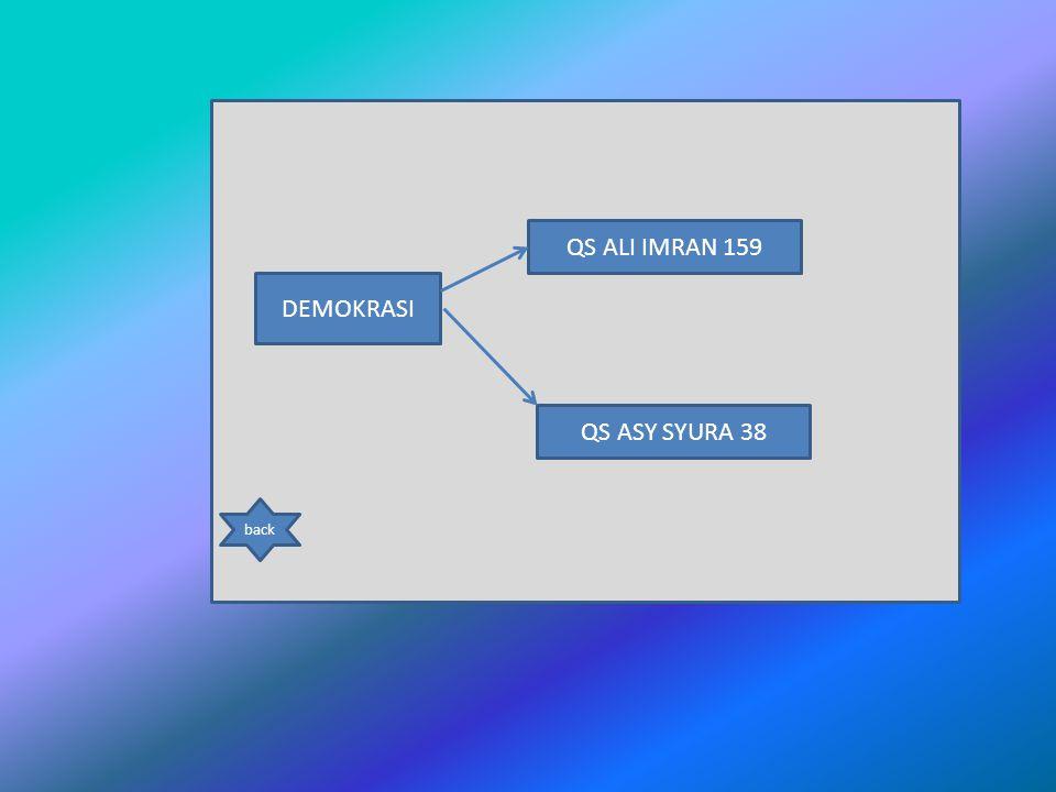 DEMOKRASI QS ALI IMRAN 159 QS ASY SYURA 38 back