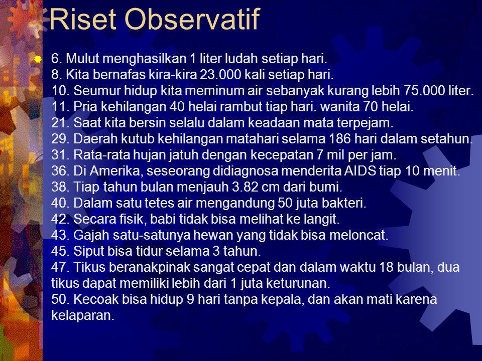 Riset Observatif  6.Mulut menghasilkan 1 liter ludah setiap hari.