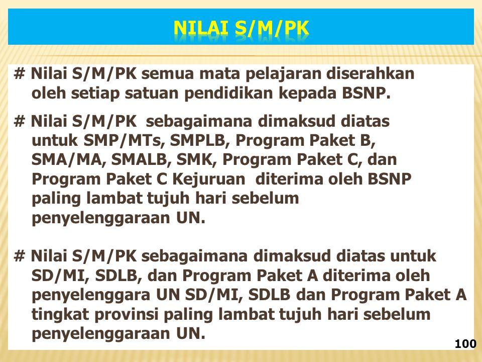 # Nilai S/M/PK semua mata pelajaran diserahkan oleh setiap satuan pendidikan kepada BSNP.