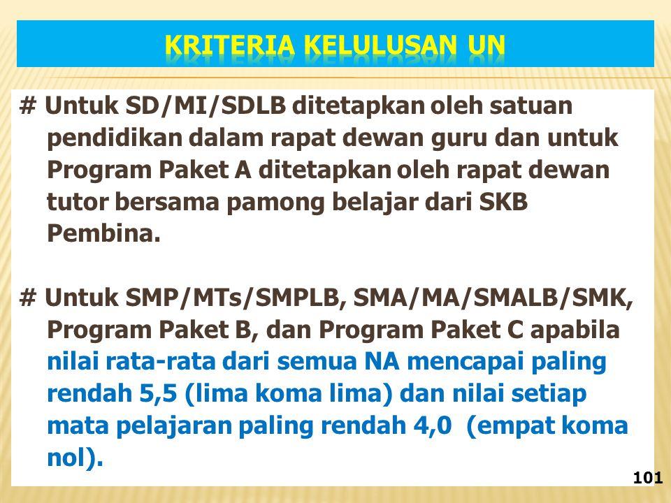 # Untuk SD/MI/SDLB ditetapkan oleh satuan pendidikan dalam rapat dewan guru dan untuk Program Paket A ditetapkan oleh rapat dewan tutor bersama pamong belajar dari SKB Pembina.
