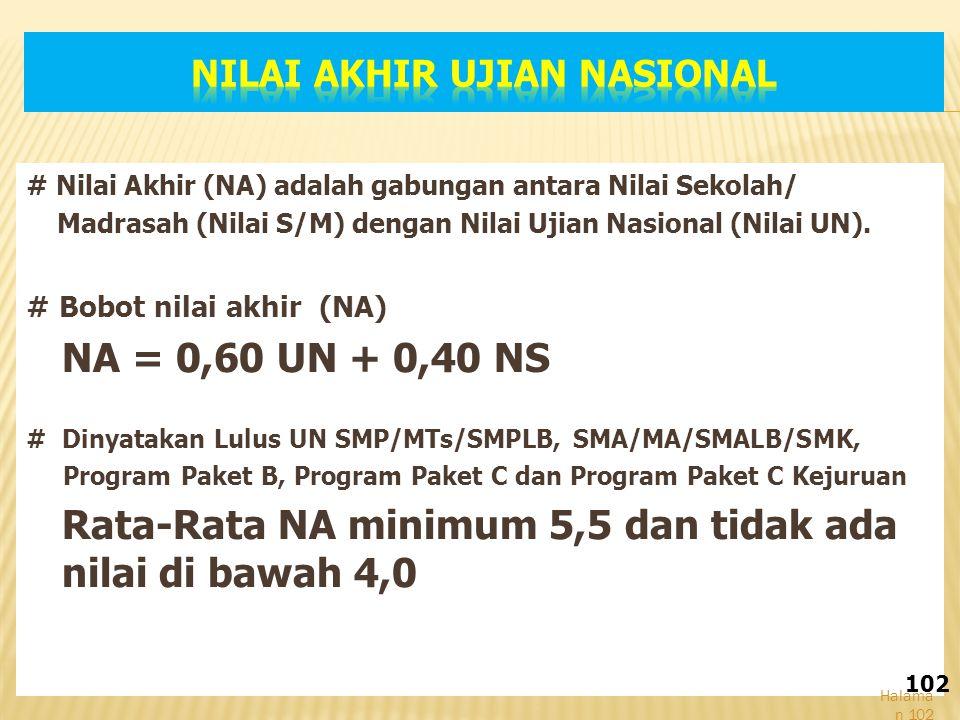 # Nilai Akhir (NA) adalah gabungan antara Nilai Sekolah/ Madrasah (Nilai S/M) dengan Nilai Ujian Nasional (Nilai UN).