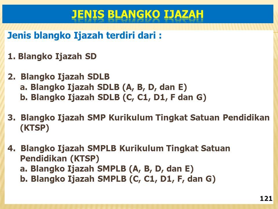 Jenis blangko Ijazah terdiri dari : 1.Blangko Ijazah SD 2.