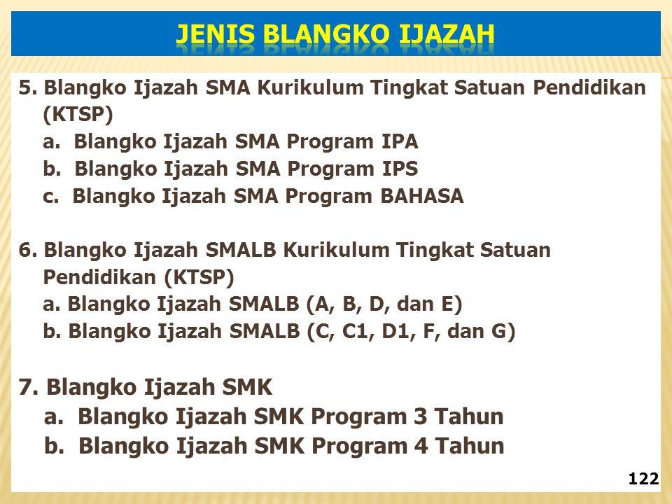 5.Blangko Ijazah SMA Kurikulum Tingkat Satuan Pendidikan (KTSP) a.