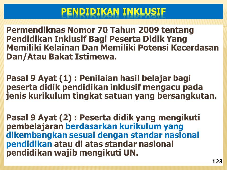Permendiknas Nomor 70 Tahun 2009 tentang Pendidikan Inklusif Bagi Peserta Didik Yang Memiliki Kelainan Dan Memiliki Potensi Kecerdasan Dan/Atau Bakat Istimewa.