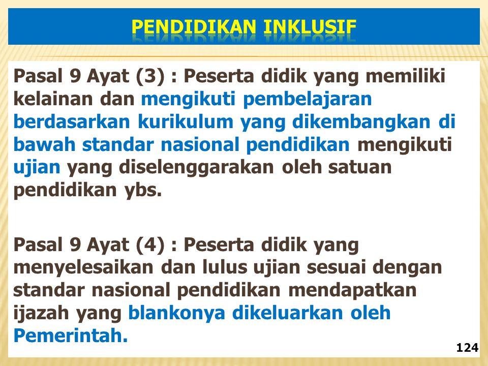 Pasal 9 Ayat (3) : Peserta didik yang memiliki kelainan dan mengikuti pembelajaran berdasarkan kurikulum yang dikembangkan di bawah standar nasional pendidikan mengikuti ujian yang diselenggarakan oleh satuan pendidikan ybs.