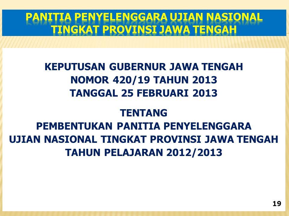 KEPUTUSAN GUBERNUR JAWA TENGAH NOMOR 420/19 TAHUN 2013 TANGGAL 25 FEBRUARI 2013 TENTANG PEMBENTUKAN PANITIA PENYELENGGARA UJIAN NASIONAL TINGKAT PROVINSI JAWA TENGAH TAHUN PELAJARAN 2012/2013 19