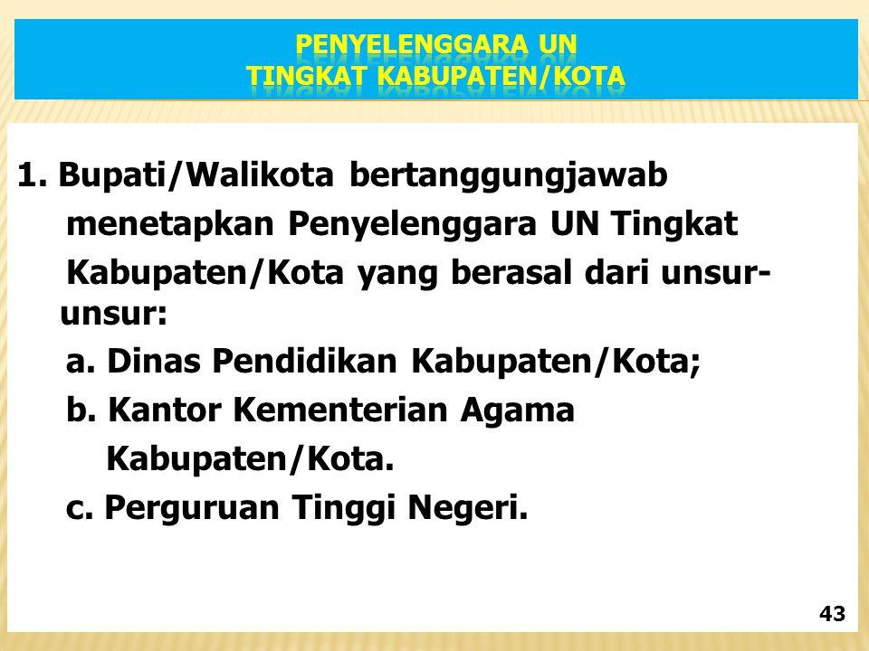 1. Bupati/Walikota bertanggungjawab menetapkan Penyelenggara UN Tingkat Kabupaten/Kota yang berasal dari unsur- unsur: a. Dinas Pendidikan Kabupaten/K