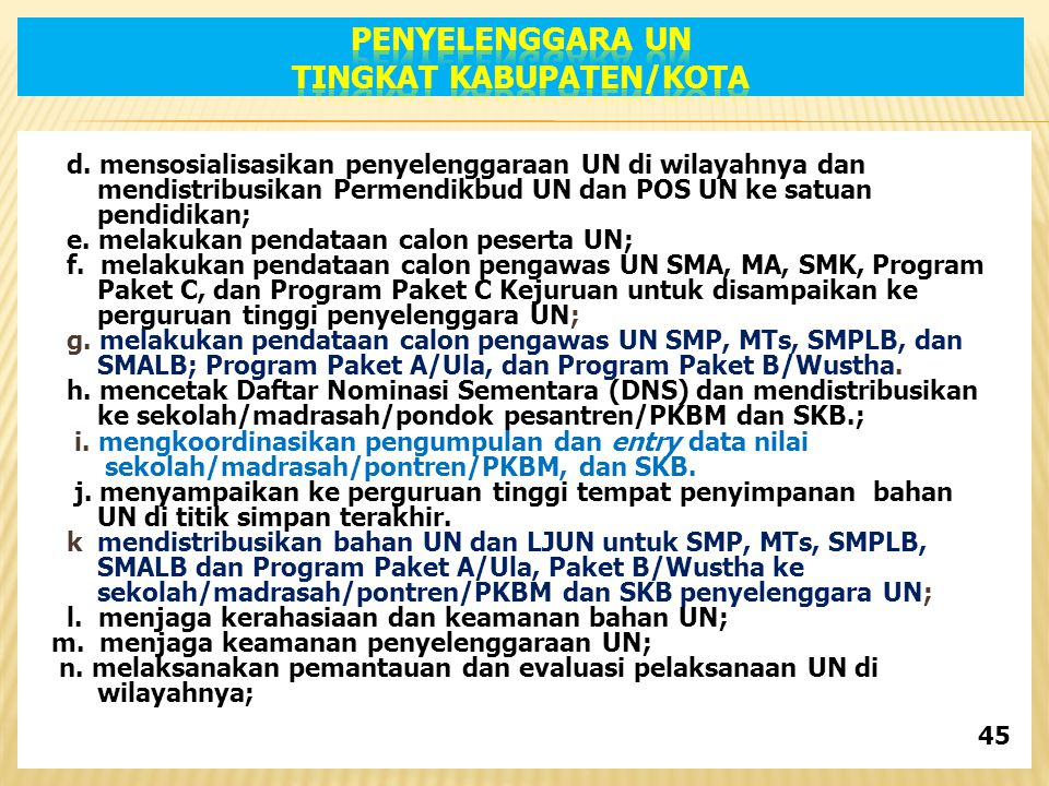 d. mensosialisasikan penyelenggaraan UN di wilayahnya dan mendistribusikan Permendikbud UN dan POS UN ke satuan pendidikan; e. melakukan pendataan cal