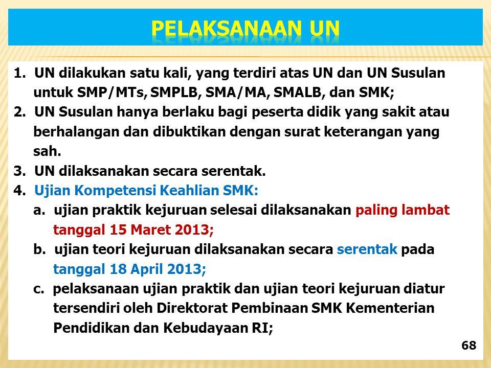 1. UN dilakukan satu kali, yang terdiri atas UN dan UN Susulan untuk SMP/MTs, SMPLB, SMA/MA, SMALB, dan SMK; 2. UN Susulan hanya berlaku bagi peserta