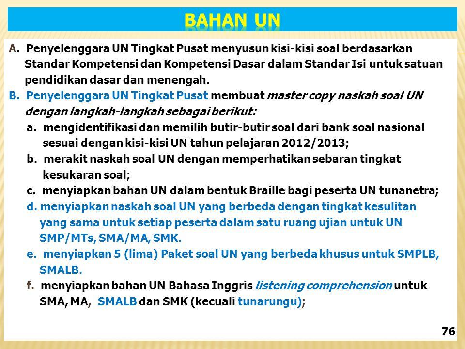 A. Penyelenggara UN Tingkat Pusat menyusun kisi-kisi soal berdasarkan Standar Kompetensi dan Kompetensi Dasar dalam Standar Isi untuk satuan pendidika