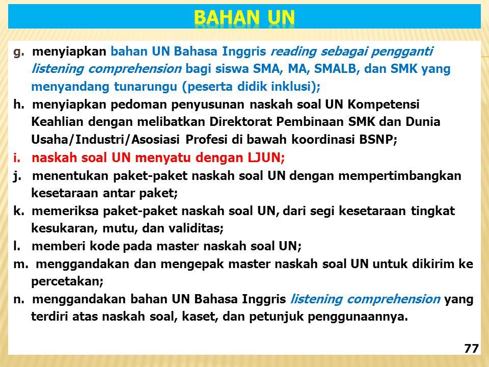 g. menyiapkan bahan UN Bahasa Inggris reading sebagai pengganti listening comprehension bagi siswa SMA, MA, SMALB, dan SMK yang menyandang tunarungu (