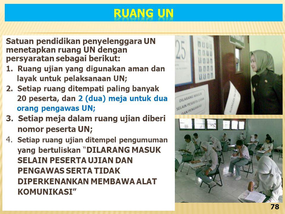 Satuan pendidikan penyelenggara UN menetapkan ruang UN dengan persyaratan sebagai berikut: 1.