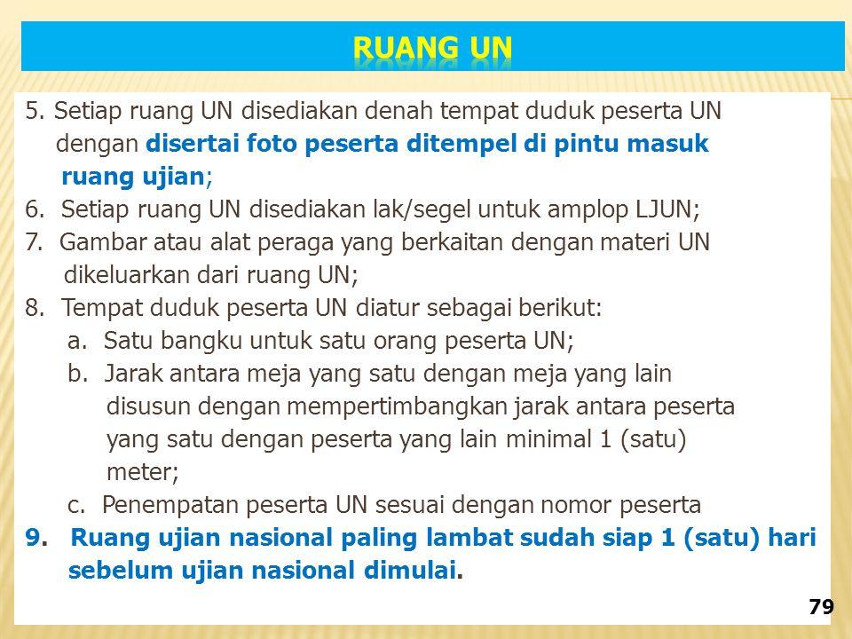 5. Setiap ruang UN disediakan denah tempat duduk peserta UN dengan disertai foto peserta ditempel di pintu masuk ruang ujian; 6. Setiap ruang UN dised