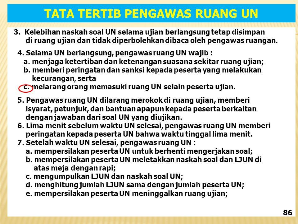 3. Kelebihan naskah soal UN selama ujian berlangsung tetap disimpan di ruang ujian dan tidak diperbolehkan dibaca oleh pengawas ruangan. 4. Selama UN