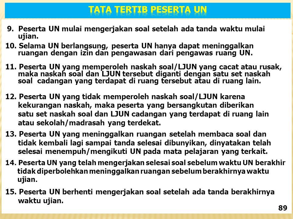 9.Peserta UN mulai mengerjakan soal setelah ada tanda waktu mulai ujian.