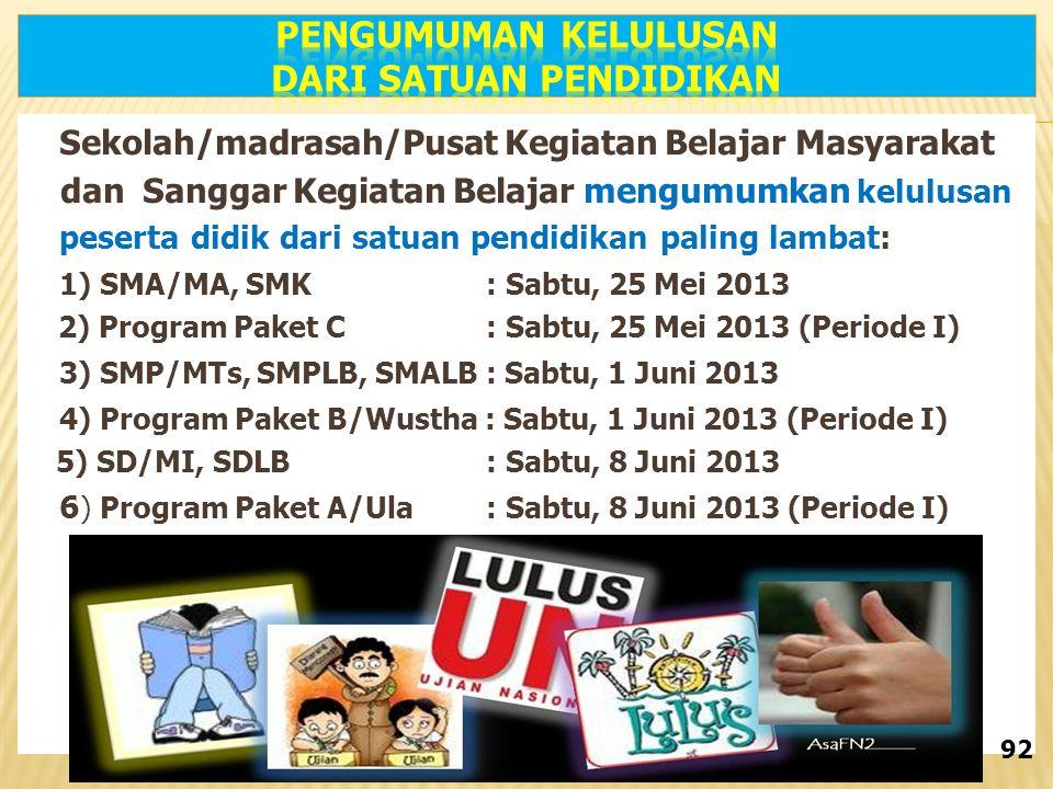 Sekolah/madrasah/Pusat Kegiatan Belajar Masyarakat dan Sanggar Kegiatan Belajar mengumumkan kelulusan peserta didik dari satuan pendidikan paling lambat: 1) SMA/MA, SMK : Sabtu, 25 Mei 2013 2) Program Paket C : Sabtu, 25 Mei 2013 (Periode I) 3) SMP/MTs, SMPLB, SMALB : Sabtu, 1 Juni 2013 4) Program Paket B/Wustha : Sabtu, 1 Juni 2013 (Periode I) 5) SD/MI, SDLB : Sabtu, 8 Juni 2013 6 ) Program Paket A/Ula : Sabtu, 8 Juni 2013 (Periode I) 3) Tanggal 8 Juni 2013 untuk SD/MI, dan SDLB 92