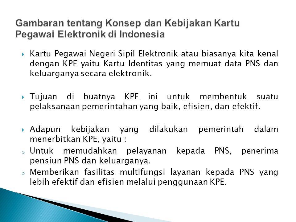  Kartu Pegawai Negeri Sipil Elektronik atau biasanya kita kenal dengan KPE yaitu Kartu Identitas yang memuat data PNS dan keluarganya secara elektronik.