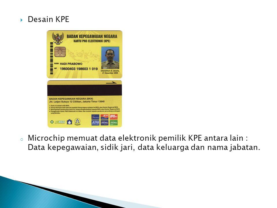  Desain KPE o Microchip memuat data elektronik pemilik KPE antara lain : Data kepegawaian, sidik jari, data keluarga dan nama jabatan.