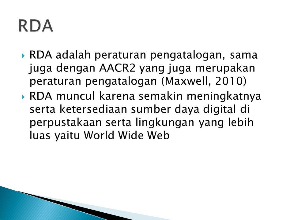 RDA Toolkit • http://www.rdatoolkit.org http://www.rdatoolkit.org • Tercatat 6 negara yang sudah menggunakan RDA yaitu AS, Canada, Inggris, Australia, Jerman dan Singapura.