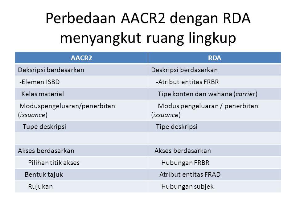 Perbedaan AACR2 dengan RDA menyangkut ruang lingkup AACR2RDA Deksripsi berdasarkanDeskripsi berdasarkan -Elemen ISBD -Atribut entitas FRBR Kelas mater