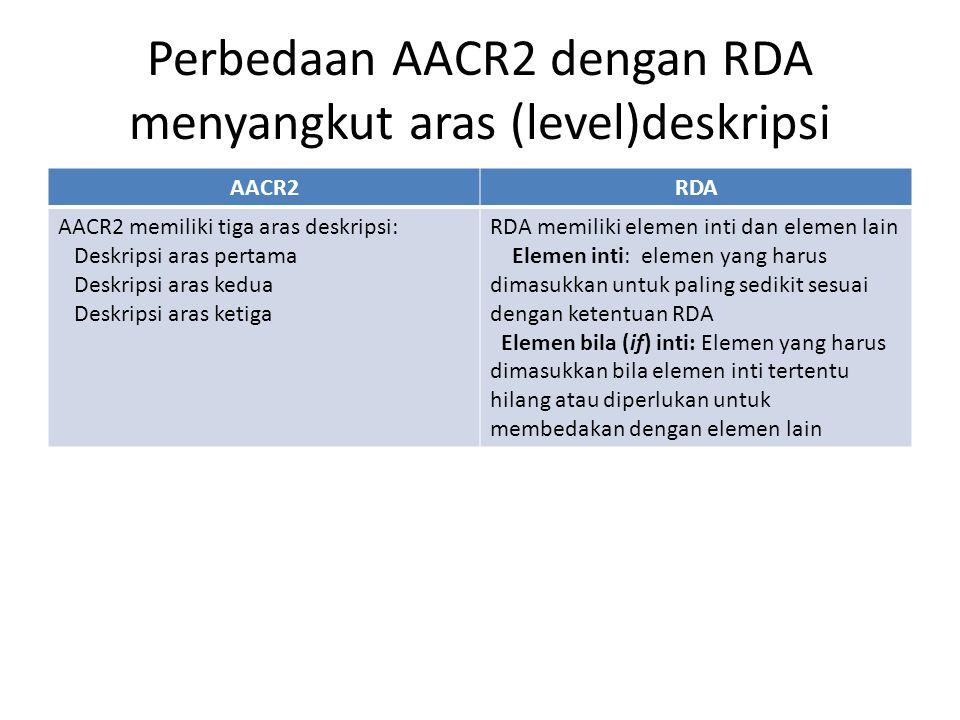 Perbedaan AACR2 dengan RDA menyangkut aras (level)deskripsi AACR2RDA AACR2 memiliki tiga aras deskripsi: Deskripsi aras pertama Deskripsi aras kedua D