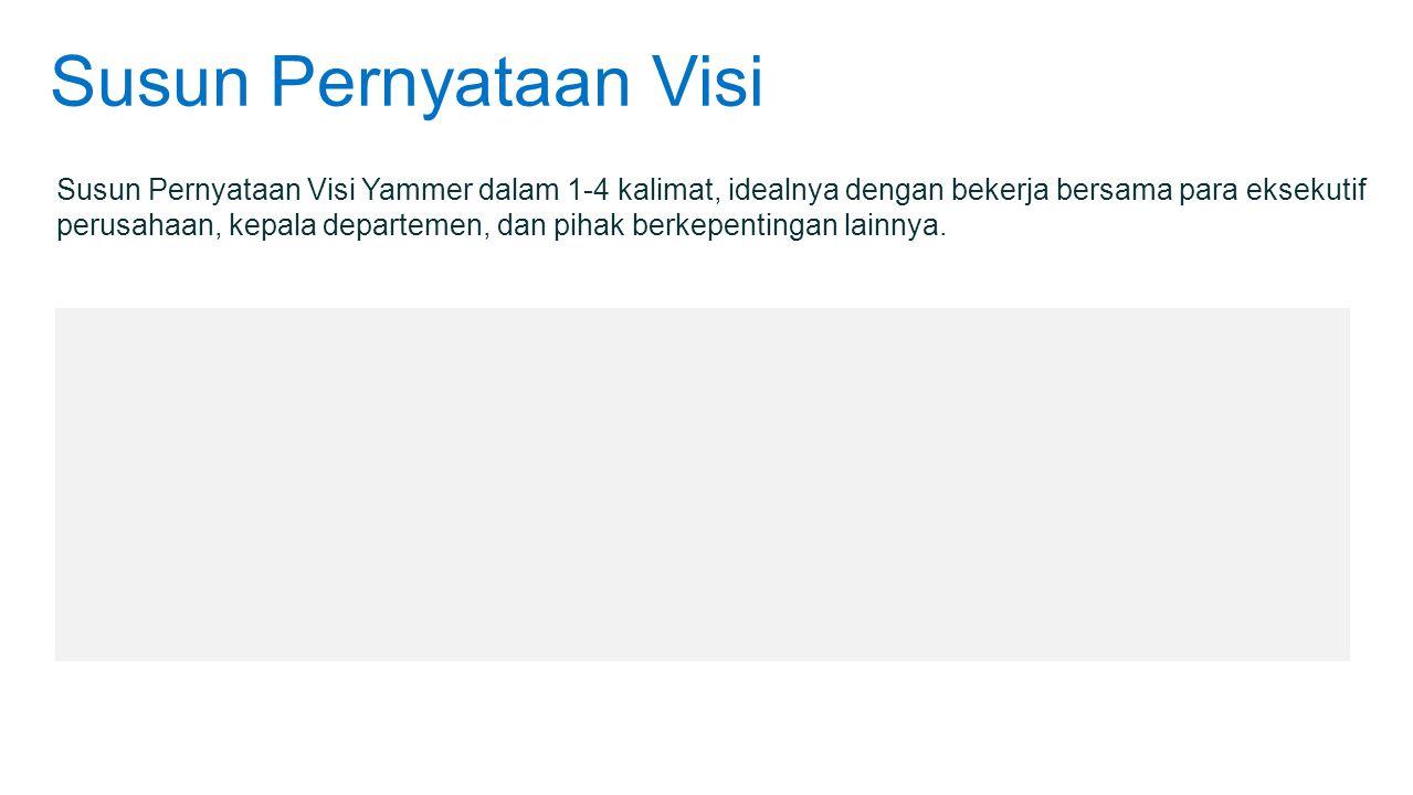 Susun Pernyataan Visi Susun Pernyataan Visi Yammer dalam 1-4 kalimat, idealnya dengan bekerja bersama para eksekutif perusahaan, kepala departemen, da