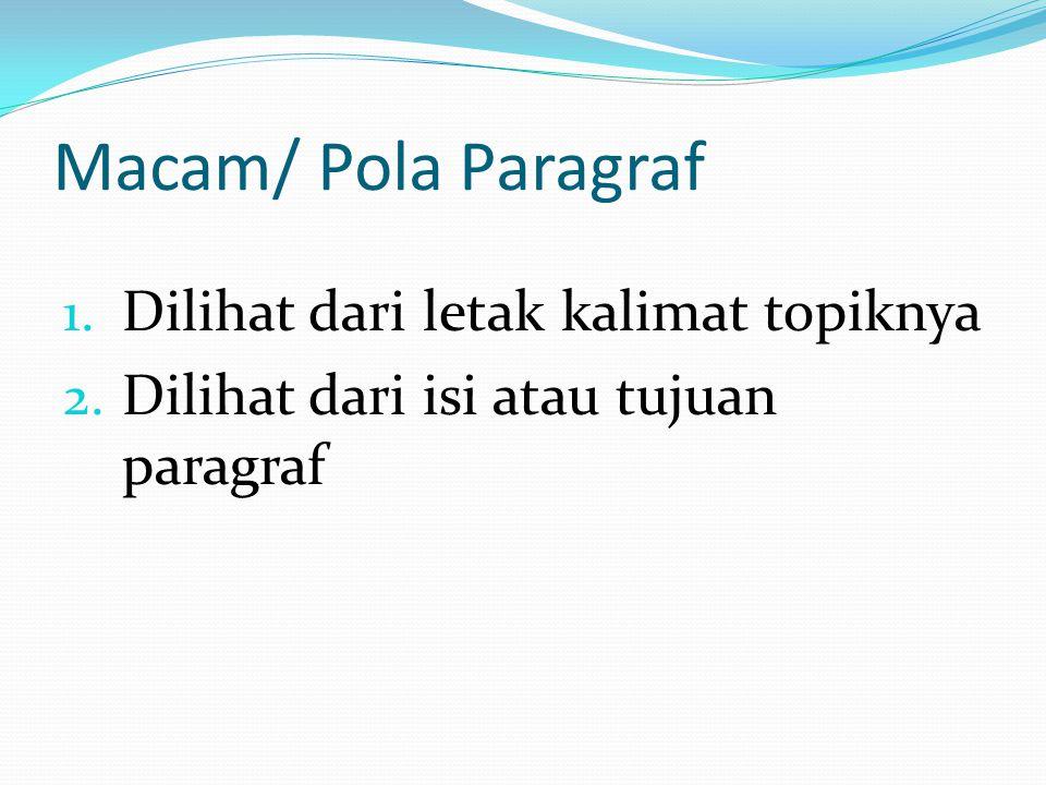 Macam/ Pola Paragraf 1. Dilihat dari letak kalimat topiknya 2. Dilihat dari isi atau tujuan paragraf