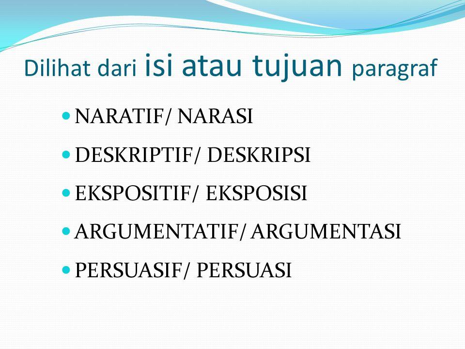 Dilihat dari isi atau tujuan paragraf  NARATIF/ NARASI  DESKRIPTIF/ DESKRIPSI  EKSPOSITIF/ EKSPOSISI  ARGUMENTATIF/ ARGUMENTASI  PERSUASIF/ PERSUASI