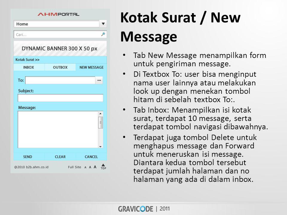 Kotak Surat / New Message • Tab New Message menampilkan form untuk pengiriman message.
