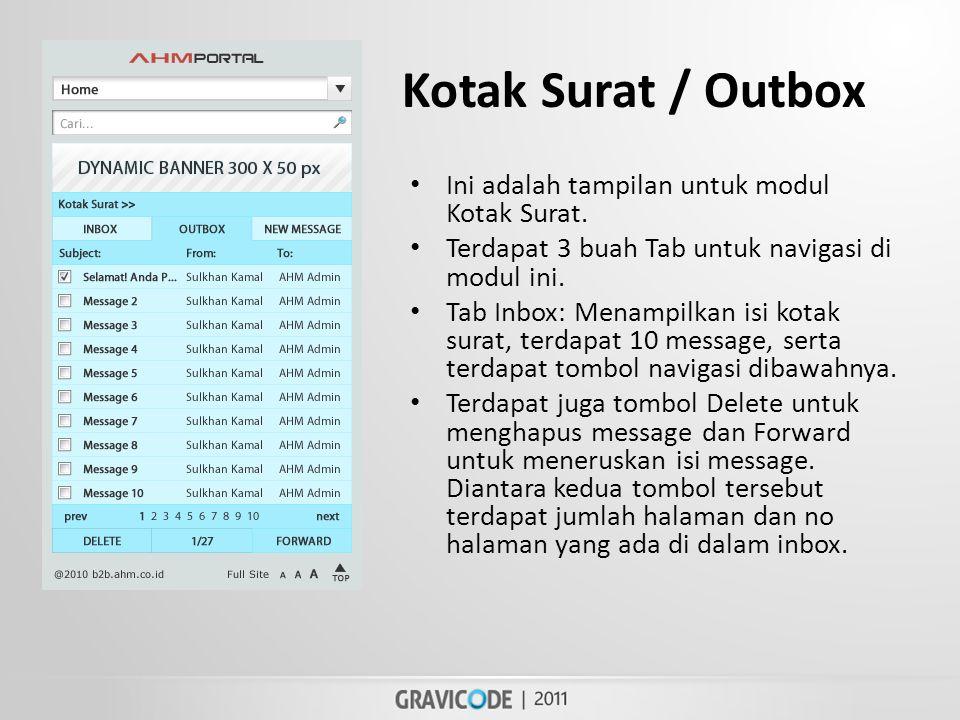 Kotak Surat / Outbox • Ini adalah tampilan untuk modul Kotak Surat.