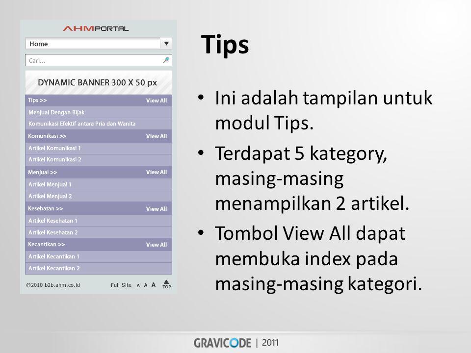 Tips • Ini adalah tampilan untuk modul Tips.