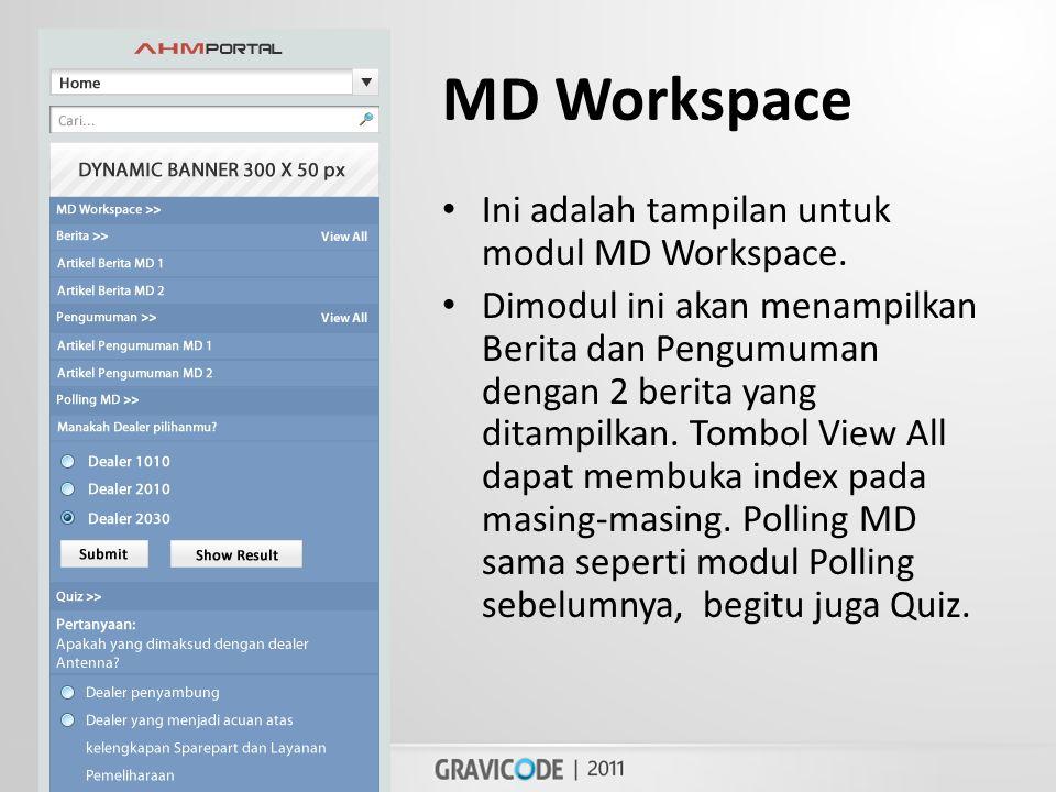 MD Workspace • Ini adalah tampilan untuk modul MD Workspace.