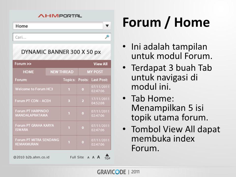 Forum / Home • Ini adalah tampilan untuk modul Forum.