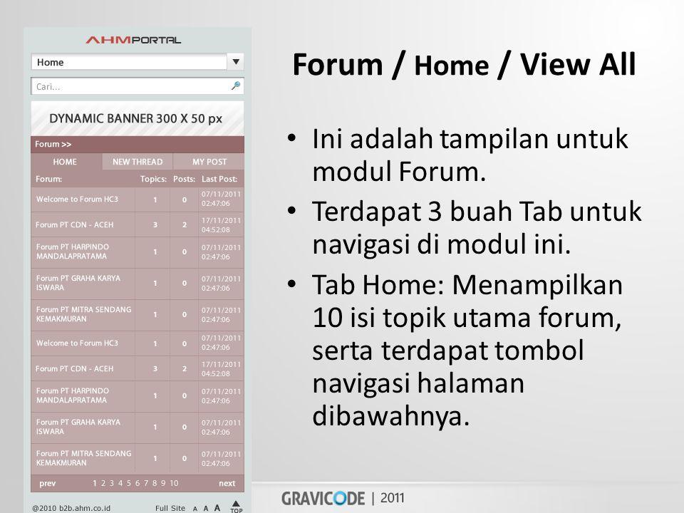 Forum / Home / View All • Ini adalah tampilan untuk modul Forum.