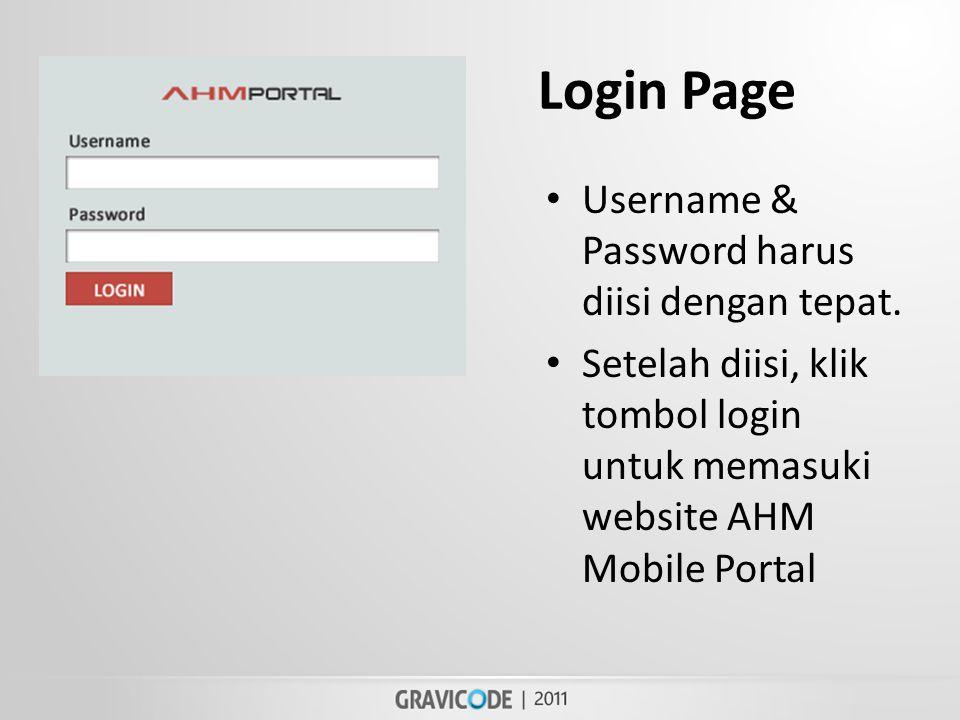 Login Page • Username & Password harus diisi dengan tepat.