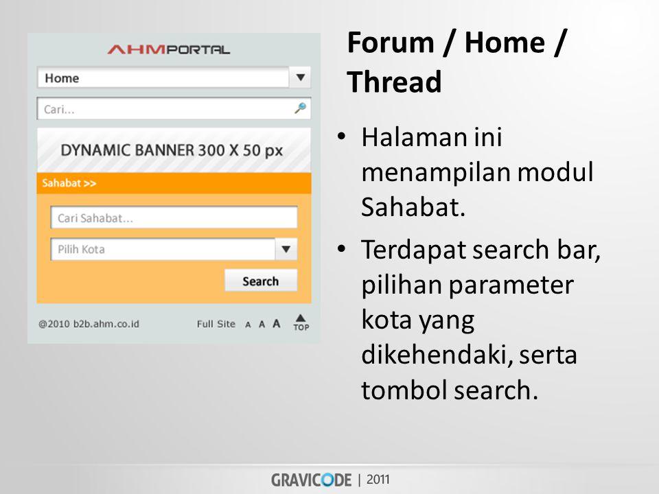 Forum / Home / Thread • Halaman ini menampilan modul Sahabat.