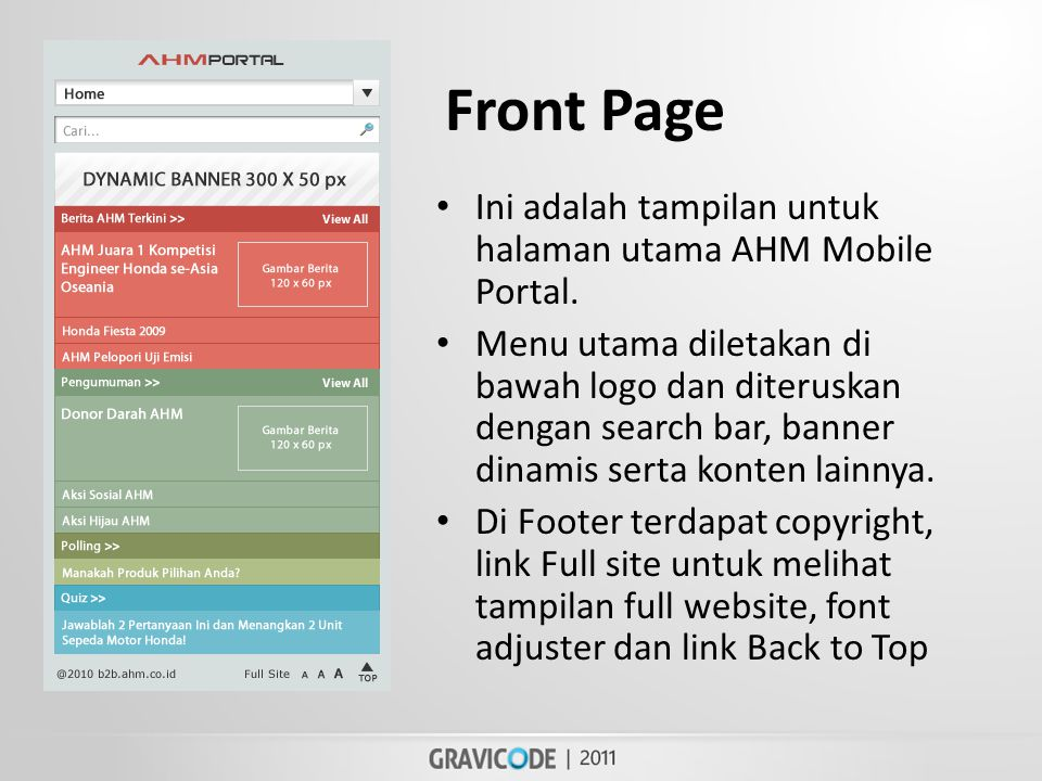 Front Page • Ini adalah tampilan untuk halaman utama AHM Mobile Portal.
