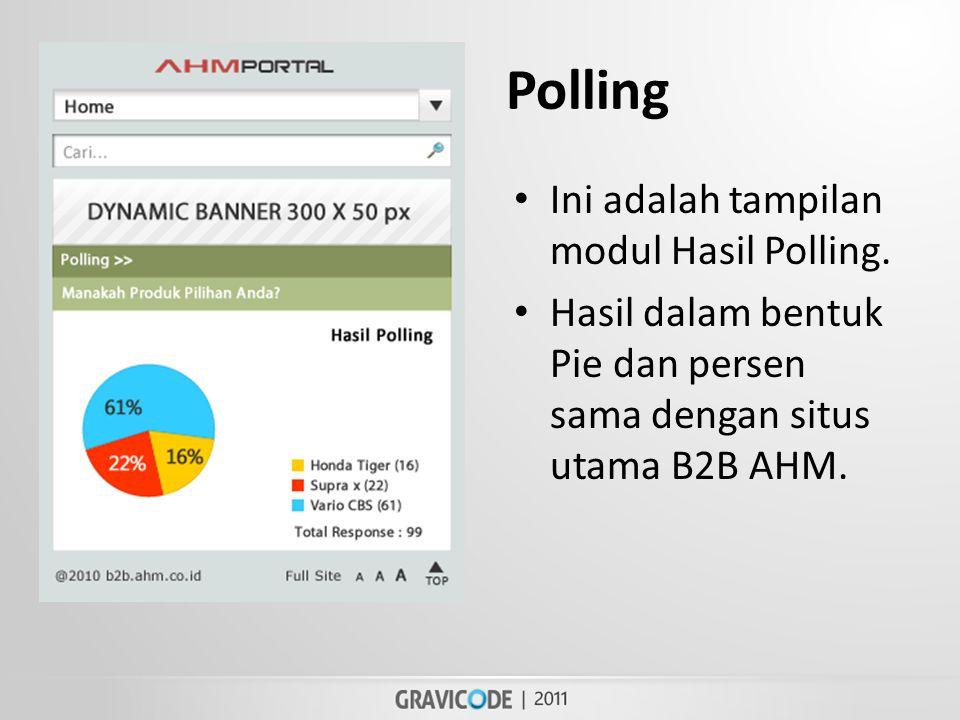 Polling • Ini adalah tampilan modul Hasil Polling.