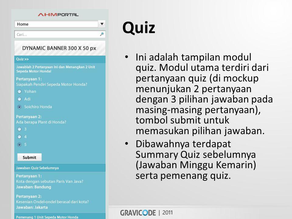 Quiz • Ini adalah tampilan modul quiz.