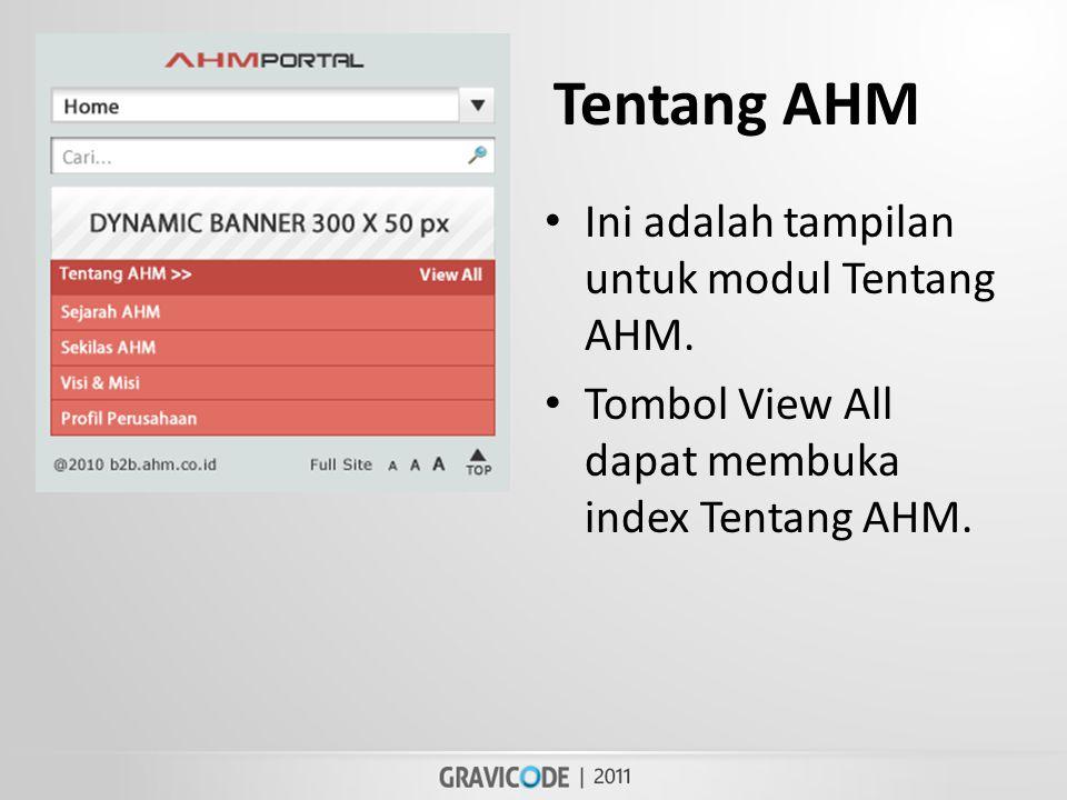 Tentang AHM • Ini adalah tampilan untuk modul Tentang AHM.