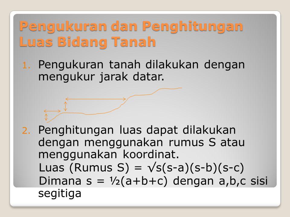 Pengukuran dan Penghitungan Luas Bidang Tanah 1. Pengukuran tanah dilakukan dengan mengukur jarak datar. 2. Penghitungan luas dapat dilakukan dengan m